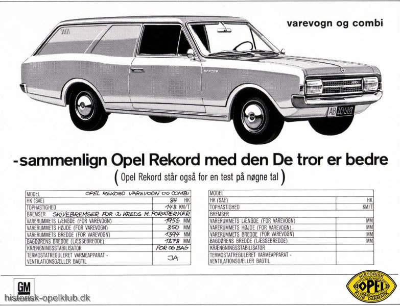 Rekord Reklamer Historisk Opel Klub Danmark
